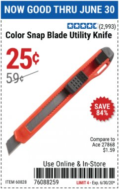Harbor Freight Coupon COLOR SNAP BLADE UTILITY KNIFE Lot No. 60828 EXPIRES: 6/30/20 - $0.25