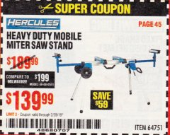 Harbor Freight Coupon HERCULES HEAVY DUTY MOBILE MITER SAW STAND Lot No. 64751/56165 Expired: 2/28/19 - $139.99