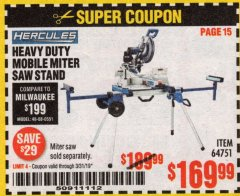 Harbor Freight Coupon HERCULES HEAVY DUTY MOBILE MITER SAW STAND Lot No. 64751/56165 Expired: 3/31/19 - $169.99