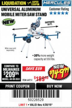 Harbor Freight Coupon HERCULES HEAVY DUTY MOBILE MITER SAW STAND Lot No. 64751/56165 Expired: 4/30/19 - $149.99