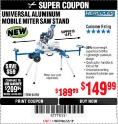 Harbor Freight Coupon HERCULES HEAVY DUTY MOBILE MITER SAW STAND Lot No. 64751/56165 Expired: 5/5/19 - $149.99
