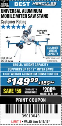 Harbor Freight Coupon HERCULES HEAVY DUTY MOBILE MITER SAW STAND Lot No. 64751/56165 Expired: 6/16/19 - $149.99