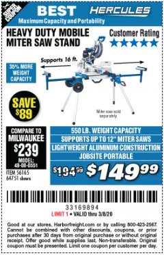 Harbor Freight Coupon HERCULES HEAVY DUTY MOBILE MITER SAW STAND Lot No. 64751/56165 Expired: 2/8/20 - $149.99