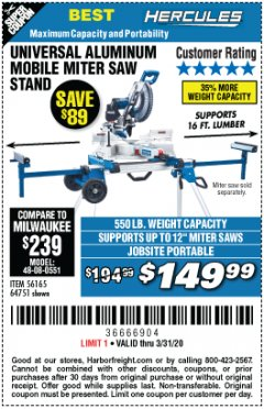 Harbor Freight Coupon HERCULES HEAVY DUTY MOBILE MITER SAW STAND Lot No. 64751/56165 Expired: 3/31/20 - $149.99