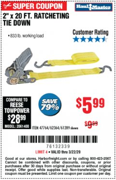 "Harbor Freight Coupon 2"" x 20 FT. RATCHETING TIE DOWN Lot No. 61289/47764/62364 Expired: 3/22/20 - $5.99"