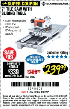 "Harbor Freight Coupon 1.5 HP, 7"" TILE SAW WITH SLIDING TABLE Lot No. 64683 Valid Thru: 4/30/20 - $239.99"