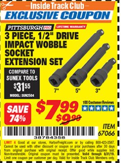 "Harbor Freight ITC Coupon 3 PIECE, 1/2"" DRIVE IMPACT WOBBLE SOCKET EXTENSION SET Lot No. 67066 Expired: 8/31/19 - $7.99"