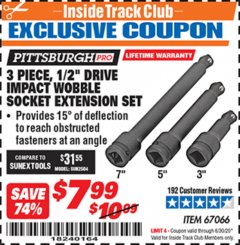 "Harbor Freight ITC Coupon 3 PIECE, 1/2"" DRIVE IMPACT WOBBLE SOCKET EXTENSION SET Lot No. 67066 Expired: 6/30/20 - $7.99"