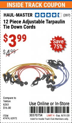 Harbor Freight ITC Coupon 12 PIECE ADJUSTABLE TARPAULIN TIE DOWN CORDS Lot No. 62972/47474 Expired: 8/31/20 - $3.99