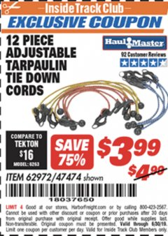 Harbor Freight ITC Coupon 12 PIECE ADJUSTABLE TARPAULIN TIE DOWN CORDS Lot No. 62972/47474 Expired: 6/30/19 - $3.99