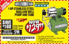 Harbor Freight Coupon 1 HP STAINLESS STEEL SHALLOW WELL PUMP AND TANK Lot No. 56395/63407 Expired: 4/20/19 - $129.99