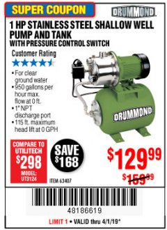 Harbor Freight Coupon 1 HP STAINLESS STEEL SHALLOW WELL PUMP AND TANK Lot No. 56395/63407 Expired: 4/1/19 - $129.99