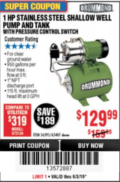 Harbor Freight Coupon 1 HP STAINLESS STEEL SHALLOW WELL PUMP AND TANK Lot No. 56395/63407 Expired: 6/30/19 - $129.99