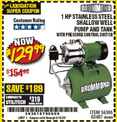 Harbor Freight Coupon 1 HP STAINLESS STEEL SHALLOW WELL PUMP AND TANK Lot No. 56395/63407 Expired: 6/30/20 - $129.99