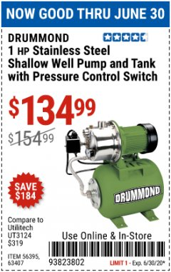 Harbor Freight Coupon 1 HP STAINLESS STEEL SHALLOW WELL PUMP AND TANK Lot No. 56395/63407 Expired: 6/30/20 - $134.99