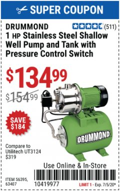 Harbor Freight Coupon 1 HP STAINLESS STEEL SHALLOW WELL PUMP AND TANK Lot No. 56395/63407 Expired: 7/5/20 - $134.99