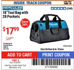 "Harbor Freight ITC Coupon HERCULES 18"" TOOL BAG WITH 28 POCKETS Lot No. 64661 Dates Valid: 12/31/69 - 6/30/20 - $17.99"