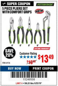 Harbor Freight Coupon 5 PIECE PLIERS SET WITH COMFORT GRIPS Lot No. 64136 Expired: 6/23/19 - $13.49