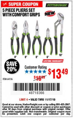 Harbor Freight Coupon 5 PIECE PLIERS SET WITH COMFORT GRIPS Lot No. 64136 Expired: 11/17/19 - $13.49