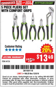 Harbor Freight Coupon 5 PIECE PLIERS SET WITH COMFORT GRIPS Lot No. 64136 Expired: 12/8/19 - $13.49