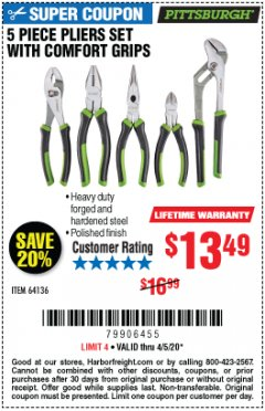 Harbor Freight Coupon 5 PIECE PLIERS SET WITH COMFORT GRIPS Lot No. 64136 EXPIRES: 6/30/20 - $13.49