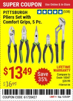 Harbor Freight Coupon 5 PIECE PLIERS SET WITH COMFORT GRIPS Lot No. 64136 Valid Thru: 12/3/20 - $13.49