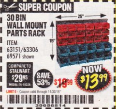 Harbor Freight Coupon 30 BIN WALL MOUNT PARTS RACK Lot No. 62198/69571/65889/63151/63306 Expired: 11/30/18 - $13.99