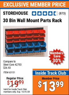 Harbor Freight Coupon 30 BIN WALL MOUNT PARTS RACK Lot No. 62198/69571/65889/63151/63306 Valid Thru: 10/31/20 - $13.99