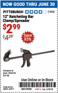 "Harbor Freight Coupon 12"" RATCHET BAR CLAMP/SPREADER Lot No. 46807/68975/69221/69222/62123/63017 EXPIRES: 6/30/20 - $2.99"