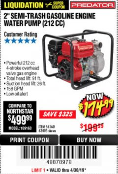 "Harbor Freight Coupon 2"" SEMI-TRASH GASOLINE ENGINE WATER PUMP 212CC Lot No. 56160 Expired: 4/30/19 - $174.99"