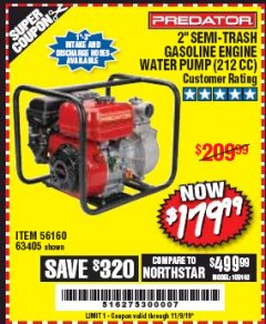 "Harbor Freight Coupon 2"" SEMI-TRASH GASOLINE ENGINE WATER PUMP 212CC Lot No. 56160 Expired: 11/9/19 - $179.99"