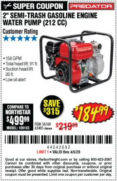 "Harbor Freight Coupon 2"" SEMI-TRASH GASOLINE ENGINE WATER PUMP 212CC Lot No. 56160 Valid: 3/11/20 - 4/5/20 - $184.99"