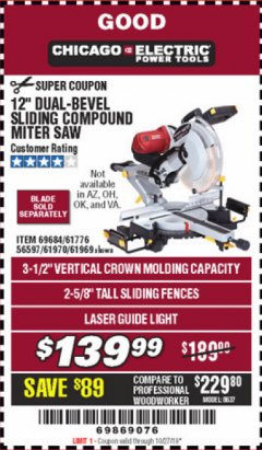 "Harbor Freight Coupon 12"" DUAL-BEVEL SLIDING COMPOUND MITER SAW Lot No. 69684/61776/61970/56597/61969 Expired: 10/27/19 - $139.99"