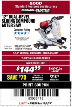 "Harbor Freight Coupon 12"" DUAL-BEVEL SLIDING COMPOUND MITER SAW Lot No. 69684/61776/61970/56597/61969 Expired: 12/1/19 - $144.99"