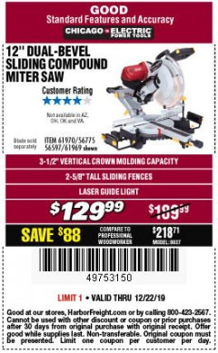 "Harbor Freight Coupon 12"" DUAL-BEVEL SLIDING COMPOUND MITER SAW Lot No. 69684/61776/61970/56597/61969 Expired: 12/22/19 - $129.99"