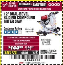 "Harbor Freight Coupon 12"" DUAL-BEVEL SLIDING COMPOUND MITER SAW Lot No. 69684/61776/61970/56597/61969 Valid Thru: 3/7/20 - $144.99"