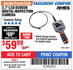 "Harbor Freight ITC Coupon AMES 2.4"" LCD DIGITAL INSPECTION CAMERA WITH RECORDER Lot No. 64623 Expired: 3/10/20 - $59.99"