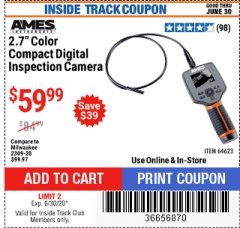 "Harbor Freight ITC Coupon AMES 2.4"" LCD DIGITAL INSPECTION CAMERA WITH RECORDER Lot No. 64623 Expired: 6/30/20 - $59.99"