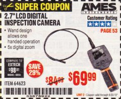 "Harbor Freight Coupon AMES 2.4"" LCD DIGITAL INSPECTION CAMERA WITH RECORDER Lot No. 64623 Expired: 6/30/19 - $69.99"