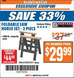 Harbor Freight ITC Coupon TWO PIECE FOLDABLE SAW HORSE SET Lot No. 61700/41577 Expired: 5/15/18 - $29.99