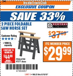 Harbor Freight ITC Coupon TWO PIECE FOLDABLE SAW HORSE SET Lot No. 61700/41577 Expired: 6/19/18 - $29.99