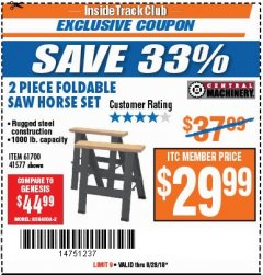 Harbor Freight ITC Coupon TWO PIECE FOLDABLE SAW HORSE SET Lot No. 61700/41577 Expired: 8/28/18 - $29.99