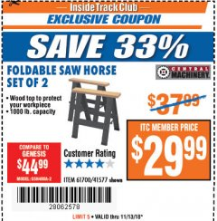 Harbor Freight ITC Coupon TWO PIECE FOLDABLE SAW HORSE SET Lot No. 61700/41577 Expired: 11/13/18 - $29.99