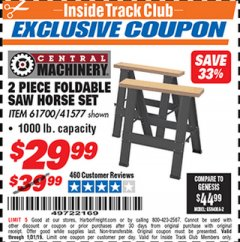Harbor Freight ITC Coupon TWO PIECE FOLDABLE SAW HORSE SET Lot No. 61700/41577 Expired: 1/31/19 - $29.99
