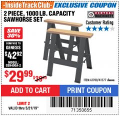 Harbor Freight ITC Coupon TWO PIECE FOLDABLE SAW HORSE SET Lot No. 61700/41577 Expired: 5/21/19 - $29.99