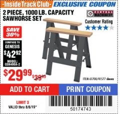 Harbor Freight ITC Coupon TWO PIECE FOLDABLE SAW HORSE SET Lot No. 61700/41577 Expired: 8/6/19 - $29.99