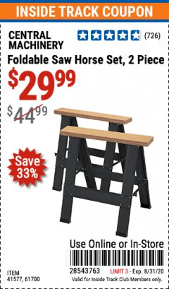 Harbor Freight ITC Coupon TWO PIECE FOLDABLE SAW HORSE SET Lot No. 61700/41577 Valid Thru: 8/31/20 - $29.99