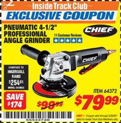 "Harbor Freight ITC Coupon PROFESSIONAL 4-1/2"" AIR ANGLE GRINDER Lot No. 64372 Valid: 2/1/20 - 2/29/20 - $79.99"