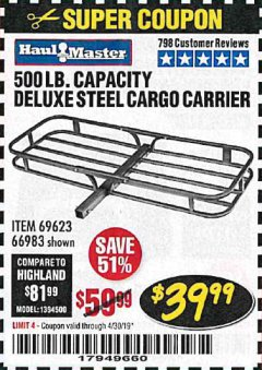 Harbor Freight Coupon 500 LB. CAPACITY DELUXE STEEL CARGO CARRIER Lot No. 69623/66983 Expired: 4/30/19 - $39.99