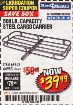 Harbor Freight Coupon 500 LB. CAPACITY DELUXE STEEL CARGO CARRIER Lot No. 69623/66983 Expired: 5/31/19 - $39.99